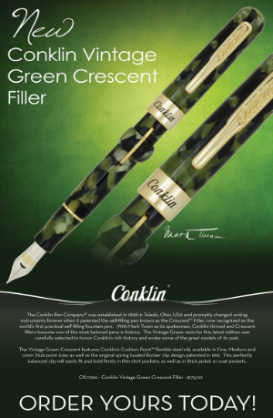 Vintage Vintage Green Crescent Filler Fountain Pen Series by Conklin®