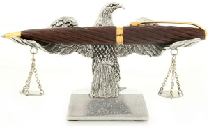 Legal Eagle With Scales Pen Holder by Jac Zagoory Designs