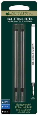 MonteVerde® Rollerball Ink refill fits-MontBlanc® [M222 & M232]....2 pack blister card/2 indivudal refills