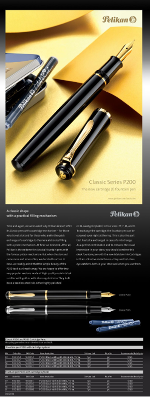 Classic P200 Black with Gold Plate Trim Ink Cartridge Fountain Pen by Pelikan®