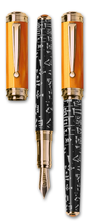 Sumer Orange Resin Fountain Pen with Rose Gold Trim from Signum® Italia