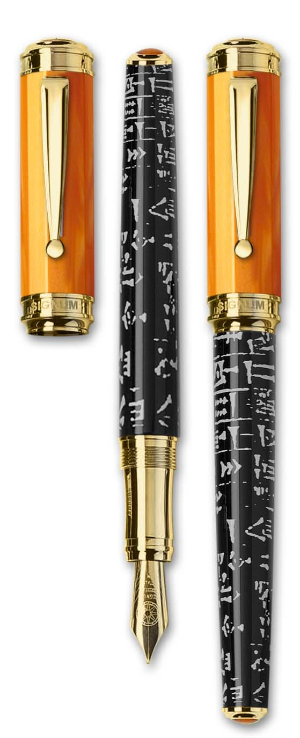 Sumer Orange Resin Fountain Pens Gold Trim and 18 karat gold nibs from Signum® Italia
