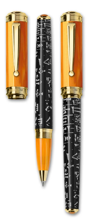 Sumer Orange Resin Rollerball Pen with Gold Trim from Signum® Italia