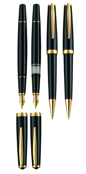 Classic Gold Converter Fountain Pens [Gold Plated Rings & Clips]..14 karat gold nibs by Cleo Skribent®