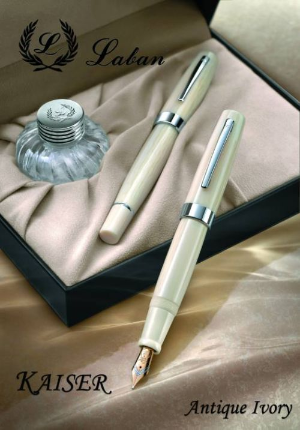 Kaiser Antique Ivory Fountain Pen with Platinum Trim by Laban®
