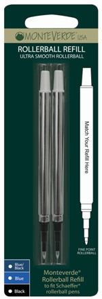 MonteVerde® Rollerball Ink refill fits-Sheaffer® [Classic style]....2 pack blister card/fine tip only