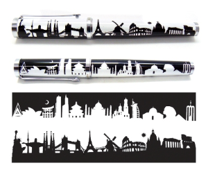 World Skyline Rollerball Pen by Jac Zagoory Designs