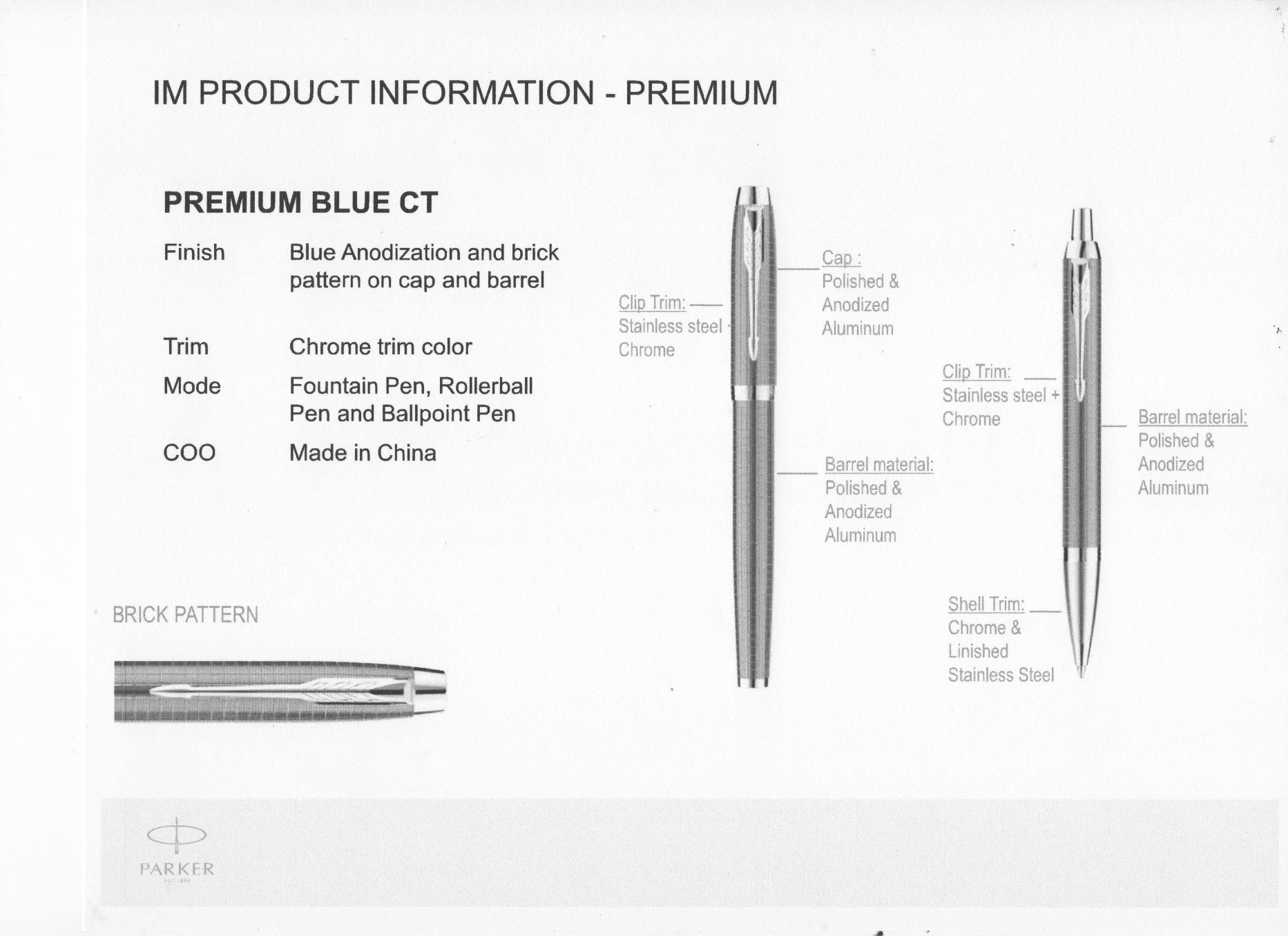 Parker Im Premium Rollerball Pen Series Rollarball Fountain Diagram A From Parker2016 Releases Seven Finishes