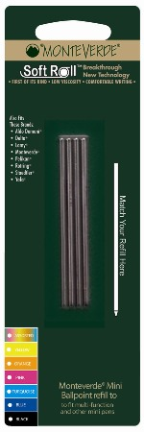 SoftRoll™ 1.4mm  D1 [Super Broad] Ballpoint Ink Refill....[D1] by MonteVerde®  4 pack blister card