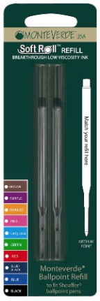 SoftRoll™ Ballpoint Ink refill - fits Sheaffer® & Sailor® Pens by MonteVerde®...2 pack blister card